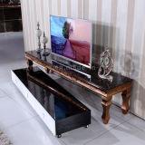 2016引出しが付いている現代最新のブラシをかけられたローズの金ステンレス鋼TVの立場
