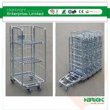 Gaiola Nestable Foldable resistente do rolo de armazenamento do supermercado