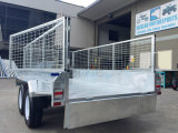 8X5 10X5 10X6 Hot Dipped Galvanized Tandem Box Remolques con jaula