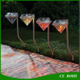 Lámpara solar inoxidable al aire libre del paisaje del césped del jardín del RGB Diamend de la luz de la manera del camino del acero LED