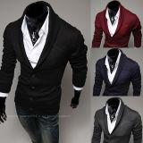 No outono/inverno V pescoço homens fina suéter de Lã Cardigan