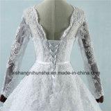 Lace Up свадебные платья с длинными рукавами кромки для невест
