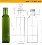 Fles van het Glas van de Olijfolie van de Druk 250ml van de Kleur van de douane de Groene (1008)