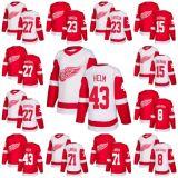 2018 Nova Marca homens asas vermelho 27 Michael Rasmussen 23 Dominic Turgeon Riley Sheahan Justin Abdelkader Dylan Larkin Darren Helm qualquer nome personalizado & N. Hockey Jersey