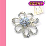 우아한 파란 모조 다이아몬드 꽃 브로치 Pin #5865