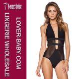 Schwarze blosse Ineinander greifen-einteilige Mädchen-reizvolle Bikinis (L32528)