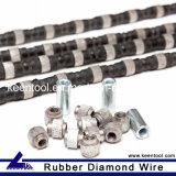 Fio de borracha de diamante de 11,5 mm com grânulos de diamante sinterizado para pedreiras de arenito e ônix de mármore de granito