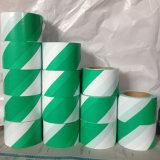 Opspoorbare Groene Witte Vloer die de Band van de Voorzichtigheid van de Waarschuwing merken