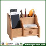 Suporte de madeira dos artigos de papelaria do escritório da mesa da multi função