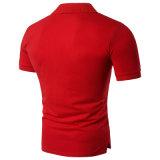 100 рубашек пола оптовой продажи ткани Pique хлопка красных с печатание