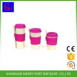 Taille Cutom écologique de fibres végétales des tasses de thé avec couvercle en silicone et manchons