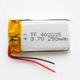 батарея батареи 402035 Li Po полимера лития 3.7V 250mAh перезаряжаемые для мобильного телефона Bluetooth MP3 MP4 MP5 GPS PSP