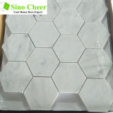 Плитка пола мозаики камня плитки шестиугольника Carrara горячего надувательства белая