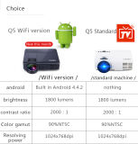 Heißer verkaufender Mikro-USB angeschaltener Mini-LED Projektor der intelligente HD Projektor-Unterstützungsmit androidem System