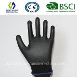 черный полиэфир 13G с перчатками безопасности покрытия PU Гэри (SL-PU207)