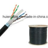 Cable de Ethernet CAT6, cobre sólido blindado al aire libre del 1000FT, entierro ULTRAVIOLETA a granel