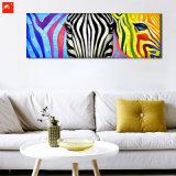 Pintura al óleo colorida de la cebra del cuadro animal de la pared de la fauna