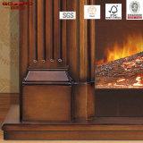 Manteau de cheminée électrique en style européen avec cadre en bois massif (GSP15-002)