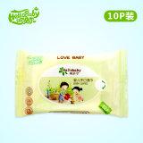 10 PCS/Bag con la fabricación competitiva de China Shandong del trapo del bebé del precio de etiqueta engomada, trapo mojado del bebé sin alcohol