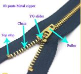 Metal / Brass / Alu Zipper, One Ways Open End Metal Zipper para Vestuário