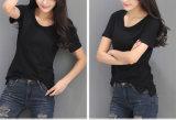 女性の綿のTシャツの特大Tシャツの黒のTシャツ
