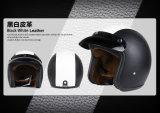 La mitad de la cara de cuero casco para moto o bicicleta con un punto aprobado
