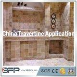 金の浴室は床を張る大理石の石造りのTravertineのタイル及び壁の内部をタイルを張る
