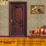 Porta de madeira da entrada clássica da noz preta (GSP2-024)