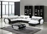 Sofá de couro preto Home simples moderno para a mobília da sala de visitas (HC2013)