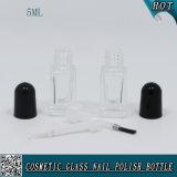Botella de esmalte de uñas de vidrio transparente cuadrado 5ml Botella de esmalte de uñas UV transparente de gel