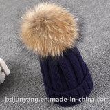 Дамы мягкие трикотажные Beanie Фо Ткань из чесаного меха POM зимние шапки