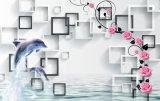 口の形の接吻花弁の壁ペーパーTVの背景の油絵