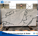 Pierre artificielle de quartz en gros pour des partie supérieure du comptoir de cuisine avec l'état de GV (Calacatta)
