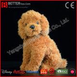 Da caniche macia de Brown do cão do luxuoso de ASTM brinquedo realístico do cão do animal enchido