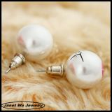 2014 chapado en oro 18k de Rhinestones Pearl Stud Earrings