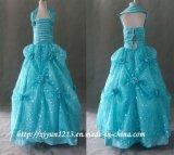 Bello vestito dalla ragazza di fiore del Organza (Angel-005)