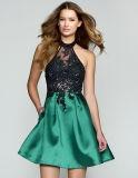 Neue Ankunfts-reizvolle Partei-Abend-Kleider A - Zeile Appliques, die frei Kleid V-Stutzen Kleid mit Reißverschluss bördeln