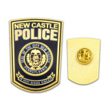Suaves de cobre amarillo de la insignia de la manera del arte de encargo del metal/esmaltan difícilmente el Pin largo militar de la solapa de la aguja del indicador de los leones de la seguridad de la policía del emblema de la plata del oro de la divisa para los regalos de la promoción