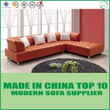 Modernes Wohnzimmer L Form-orange ledernes geschnittensofa