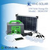 LED 10W Kit de luz solar con 4pcs la bombilla y carga USB