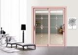 Puerta de combinación de madera del grano de la casa de lujo con el vidrio doble