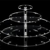 Le gâteau acrylique transparent de 4 rangées reste le support Shaped carré de gâteau
