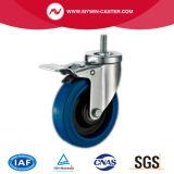 6 des Bremse verlegten Stamm-blauen Elastizität-Europa-Zoll Typ-industrielle Fußrollen