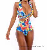 2018 женщин пляжную моды линии бикини Африки Printted Высокая поясная купальный костюм