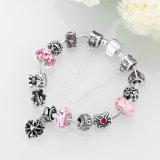 Do coração cor-de-rosa dos grânulos de vidro de DIY bracelete ajustável Shaped para mulheres