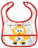 中国の工場農産物はロゴによって印刷された綿のテリーの青色児の胸当てのエプロンをカスタマイズした
