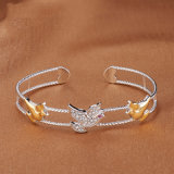 925 Silver Peace Dove Bracelet Bangle AAA CZ Silver &Gold Open Plated Fashion Jewelry (544263642789)