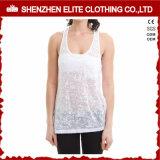 Preiswerte Dame-Großhandelsformreizvolles normales weißes Burnout-Trägershirt (ELTWBJ-346)