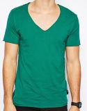 T-shirt 100% profond de chemise de circuit de collet du coton V des hommes de modèle
