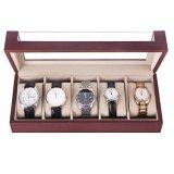 5 de Doos van de Vertoning van de Organisator van het Horloge van groeven voor het Leer van Faux van het Mahonie van Mannen en van Vrouwen